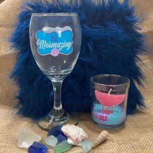 Mermaid You are Mermazing Wine Glass Candle